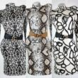 Krém alapon fekete mintás félgarbós ruha