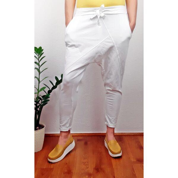 Ülepes vékony pamut fehér nadrág