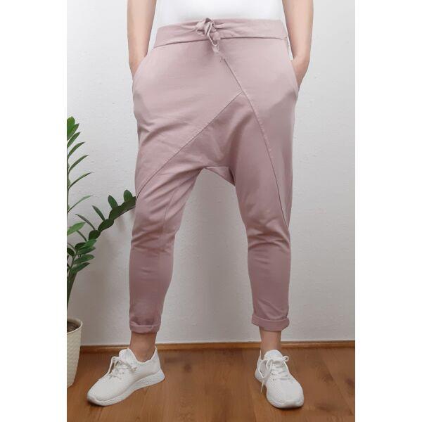 Ülepes vékony pamut mályva színű nadrág