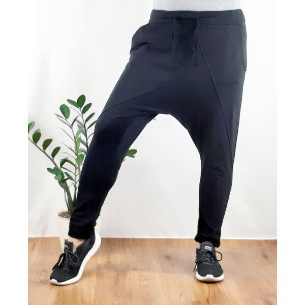 Ülepes vékony pamut fekete nadrág
