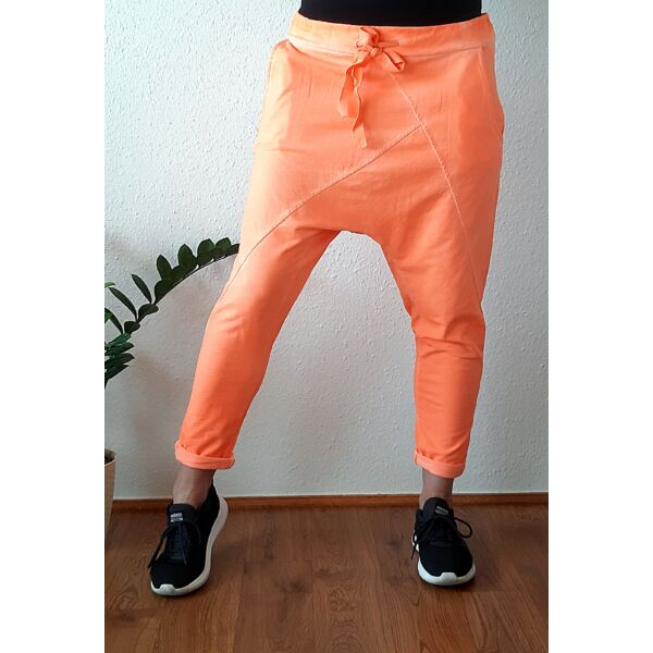Ülepes vékony pamut neon narancs nadrág