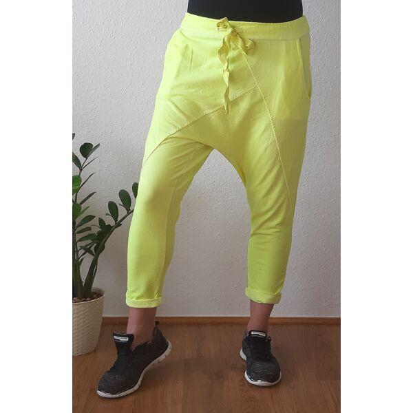 Ülepes vékony pamut neon sárga nadrág