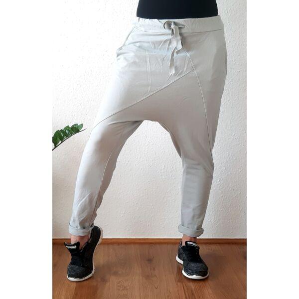 Ülepes vékony pamut szürke nadrág