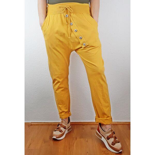 Ülepes díszgombos mustár sárga nadrág