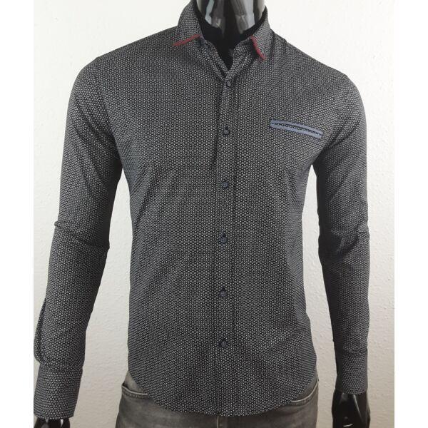 Apró mintás fekete elegáns ing