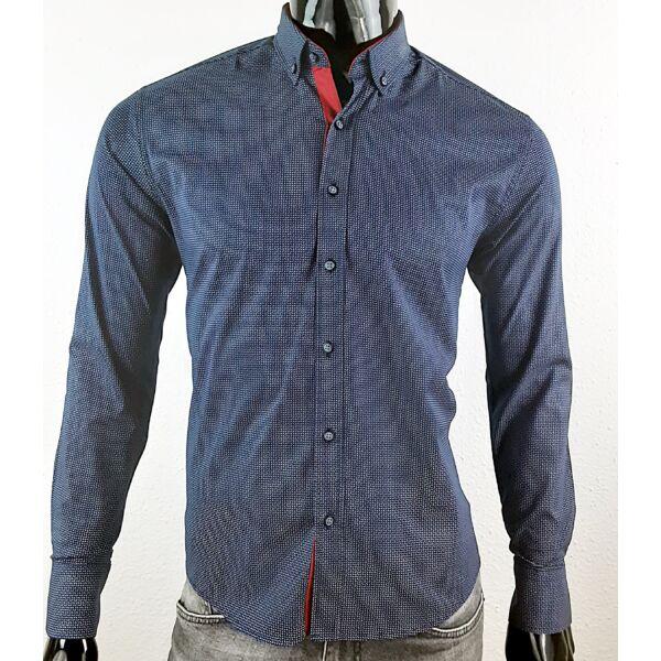 Apró mintás sötét kék elegáns ing