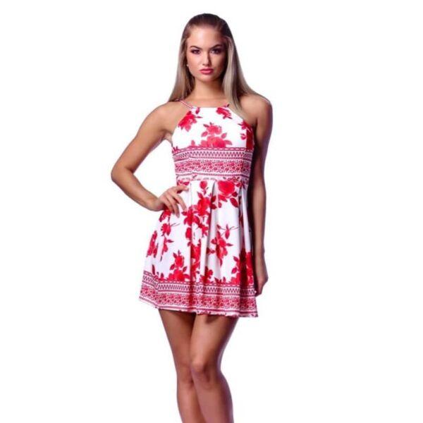 Fehér alapon piros virágmintás mini ruha