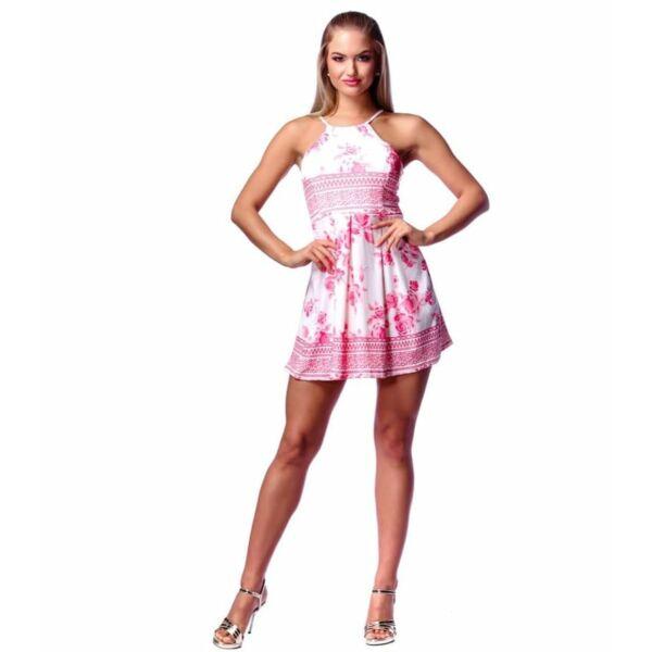 Fehér alapon pink virágmintás mini ruha