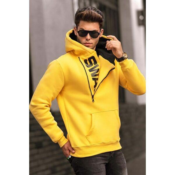 Oldalt cipzáros ,kapucnis sárga pulóver