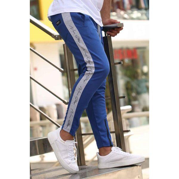 Kék melegítő nadrág szürke csíkkal
