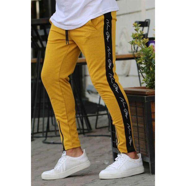 Mustár sárga melegítő nadrág fekete csíkkal