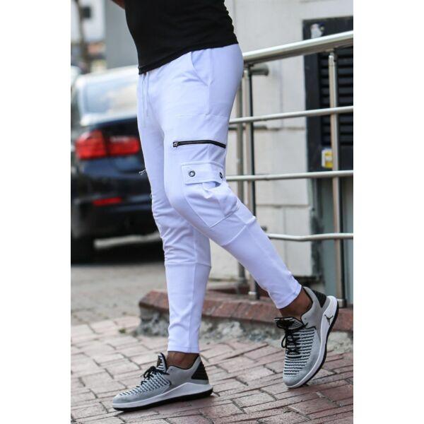 Extravagáns egyedi oldalzsebes fehér nadrág