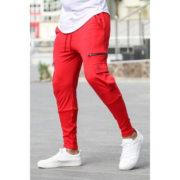Extravagáns egyedi oldalzsebes piros nadrág