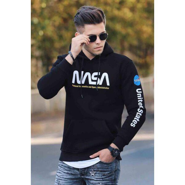 NASA feliratos fekete férfi pulóver