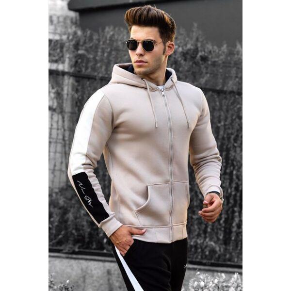 Drapp kapucnis sportos pulóver