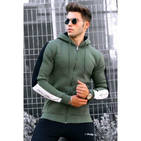 Khaki zöld kapucnis sportos pulóver