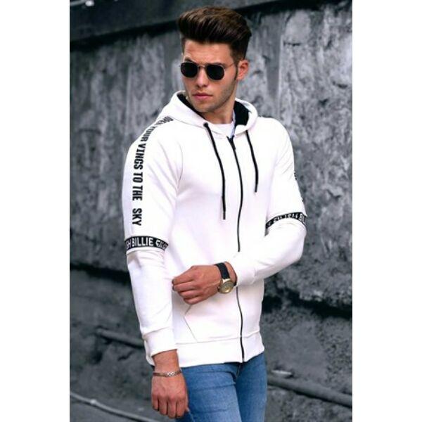 Fehér kapucnis sportos pulóver