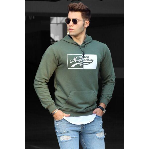 Khaki színű extravagáns pulóver