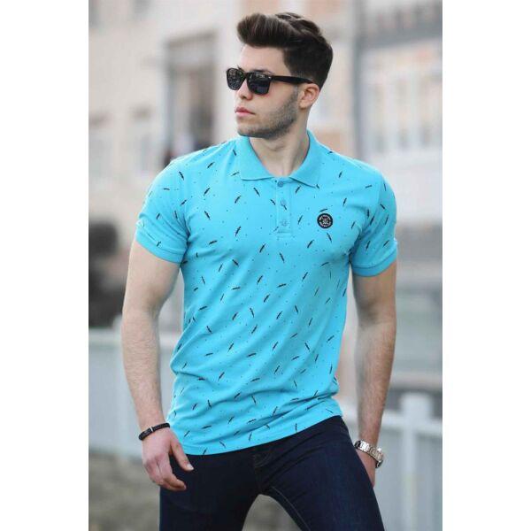 Kék apró mintás galléros póló