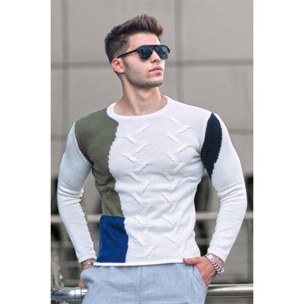 Egyedi fehér-kék-zöld-fekete kötött pulóver