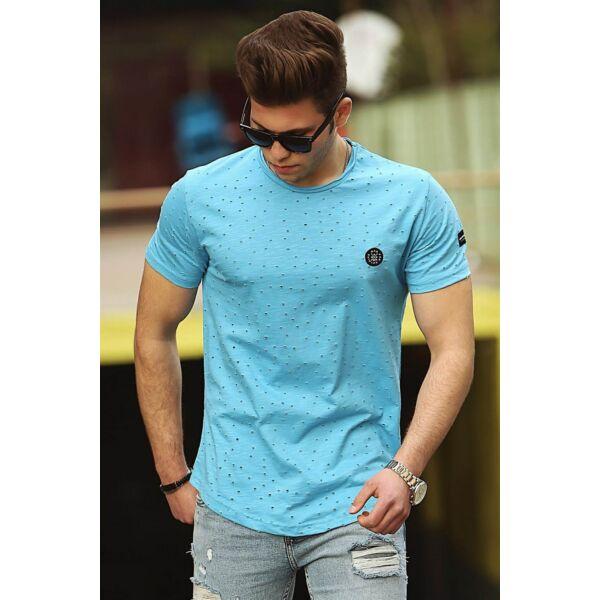 Lyukacsos kék póló