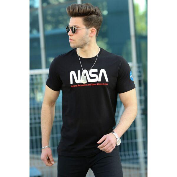 NASA feliratos fekete férfi póló