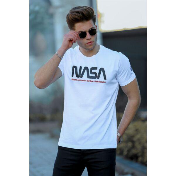 NASA feliratos fehér férfi póló