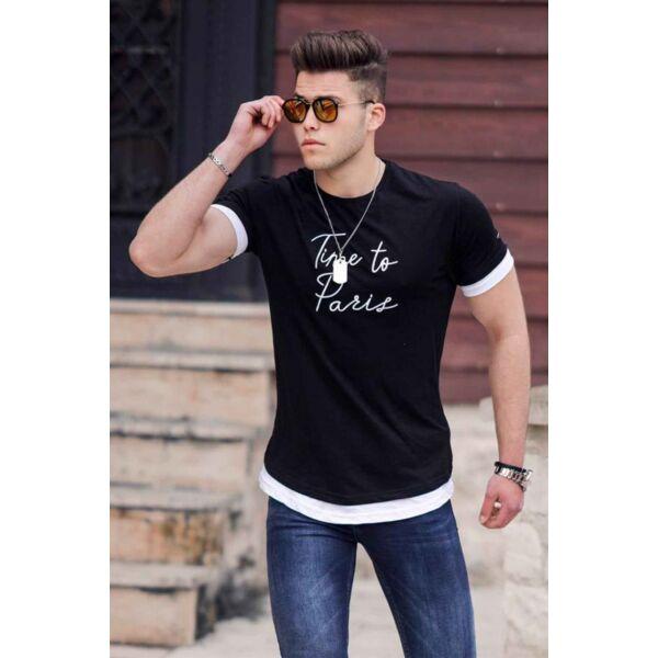 Time to Paris hímzett fekete póló