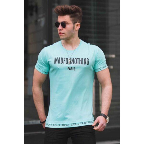 Türkiz kék feliratos egyedi póló