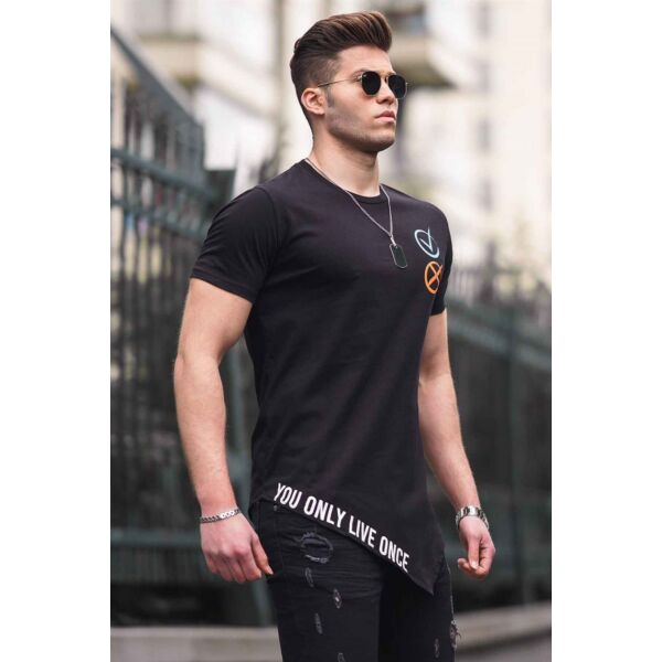 Alján  feliratos fekete aszimmetrikus aljú férfi póló