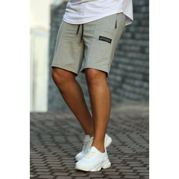 Világos szürke pamut rövid nadrág