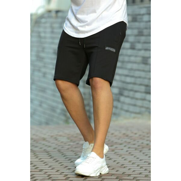 Fekete pamut rövid nadrág
