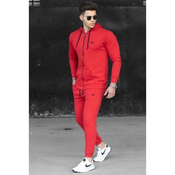 Piros  szabadidő cipzáros felsőrésszel