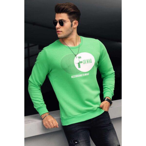 Nyomott mintás zöld pulóver