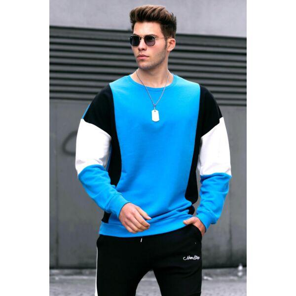 Bő fazonú kék pulóver