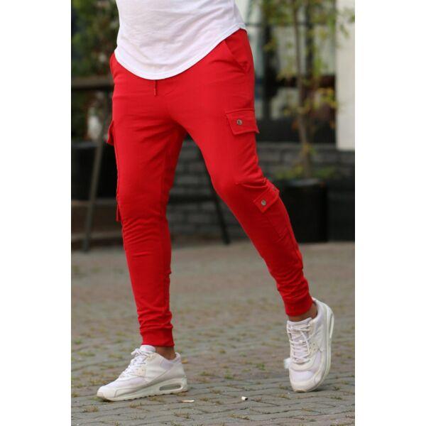 Piros oldalzsebes szabadidő nadrág
