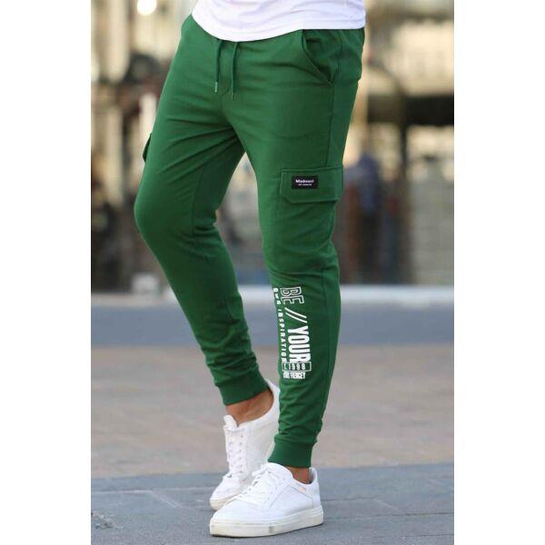 Zöld oldalzsebes szabadidő nadrág