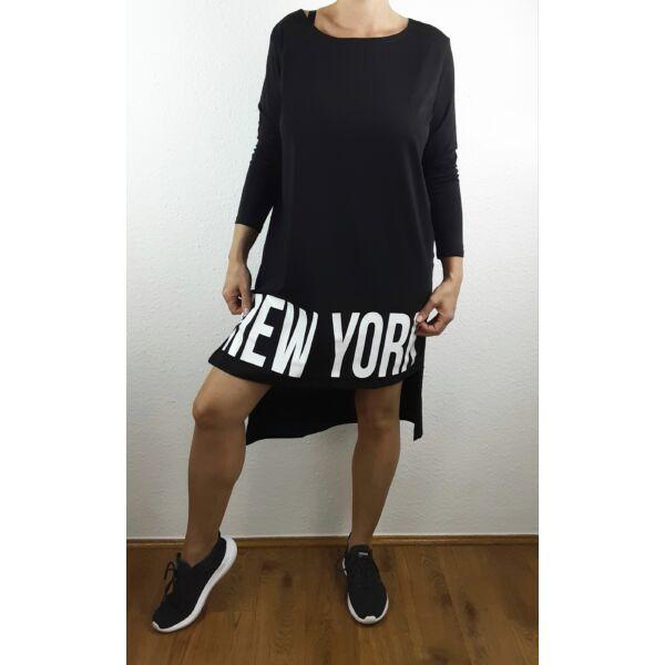 New York nyomott mintás fekete tunika
