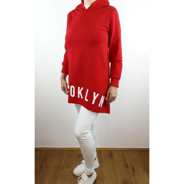 Brooklyn nyomott mintás piros sportos tunika