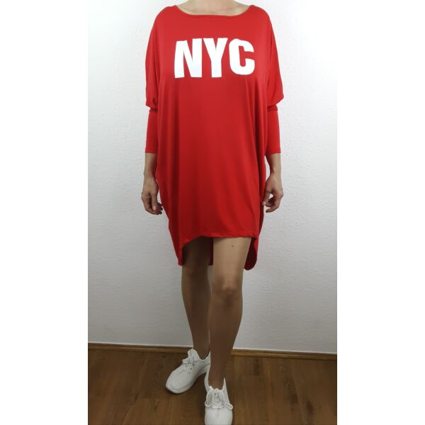 NYC nyomott mintás piros tunika