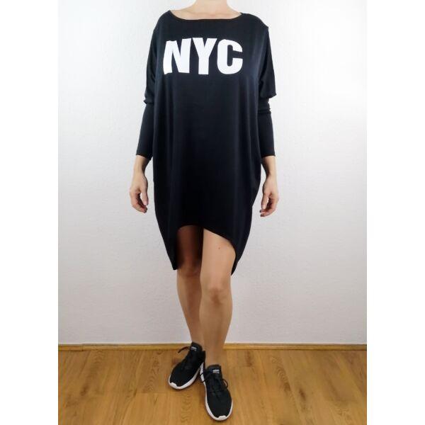 NYC nyomott mintás fekete tunika