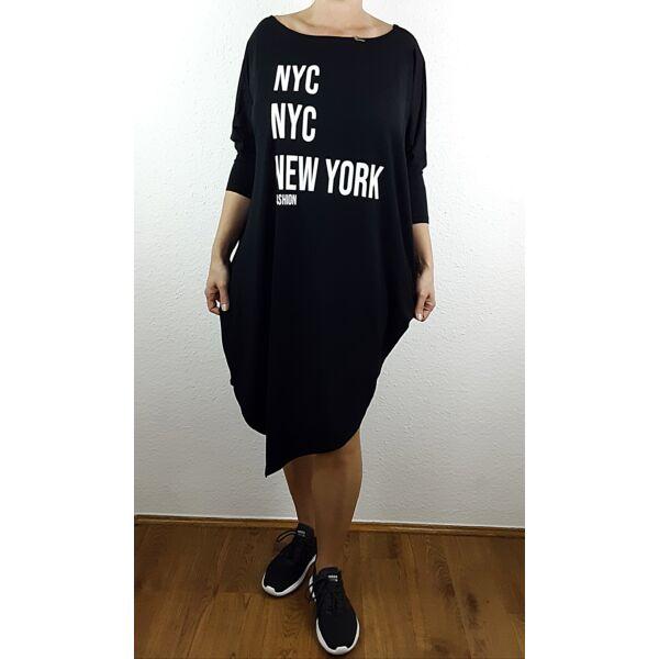 Aszimmetrikus aljú fekete New York feliratú tunika/ruha