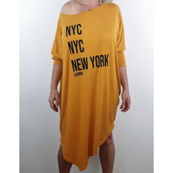 Aszimmetrikus aljú mustár sárga  New York feliratú tunika/ruha