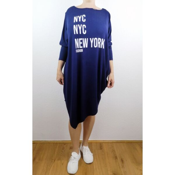 Aszimmetrikus aljú sötétkék New York feliratú tunika/ruha