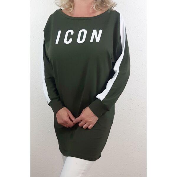 ICON feliratú khaki zöld felső/tunika