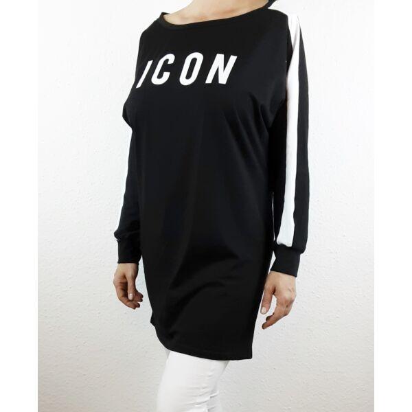 ICON feliratú fekete felső/tunika