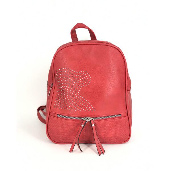 Műbőr piros háti táska ,kövekkel díszítve