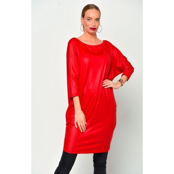 Latex hatású félvállas piros tunika/ruha