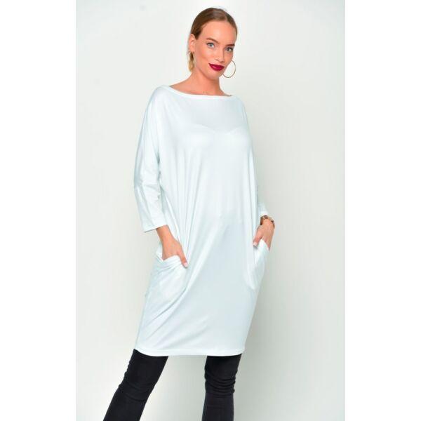 Latex hatású félvállas fehér tunika/ruha