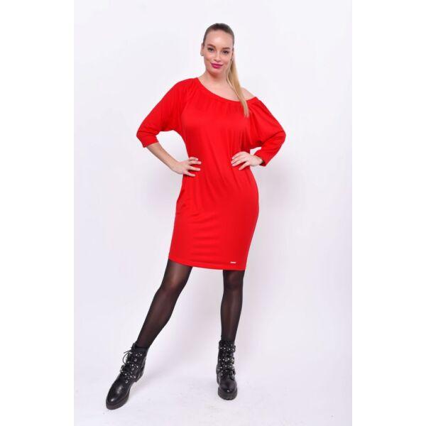 Piros fél vállas ruha